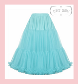 """50s Vintage Supersoft Rock n Roll Rockabilly Petticoat Skirt 26"""" With Petticoat Bag Blue"""