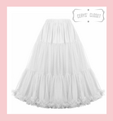 """50s Vintage Supersoft Rock n Roll Rockabilly Petticoat Skirt 26"""" With Petticoat Bag white"""