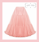 """50s Vintage Supersoft Rock n Roll Rockabilly Petticoat Skirt 26"""" With Petticoat Bag Coral Pink"""