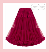 """50s Vintage Supersoft Rock n Roll Rockabilly Petticoat Skirt 26"""" With Petticoat Bag Burgundy"""