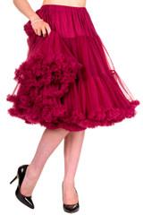 "50s Vintage Rock n Roll Rockabilly Petticoat Skirt 26"" Burgundy"