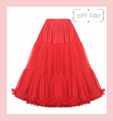 """50s Vintage Supersoft Rock n Roll Rockabilly Petticoat Skirt 26"""" Red With Petticoat Bag"""