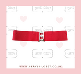 50S VINTAGE INSPIRED ELASTICATED WASPIE BELT RED BANNED APPAREL AT CERYS' CLOSET