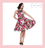 Pretty Pink and Purple Rose Floral 50s Vintage Inspired Swing Dress - Rosie