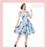Hearts and Roses London Blue and Pink Floral 50s Inspired Swing Dress with Cap Sleeves and Sweetheart Neckline at Cerys' Closet