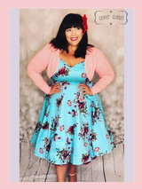 Blue and Pink Floral 50s Inspired Swing Dress with Cap Sleeves and Sweetheart Neckline - Darcey