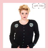 Black Scoop Neck Cardigan With Blue Embroidered Candy Skull Embellishments