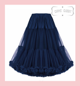 """50s Vintage Supersoft Rock n Roll Rockabilly Petticoat Skirt 26"""" Navy With Petticoat Bag Banned Apparel"""