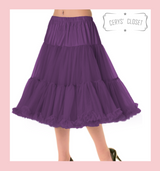 """50s Vintage Supersoft Rock n Roll Rockabilly Petticoat Skirt 26"""" With Petticoat Bag Aubergine"""