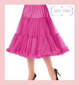 """50s Vintage Supersoft Rock n Roll Rockabilly Petticoat Skirt 26"""" With Petticoat Bag Hot Pink"""