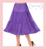 """50s Vintage Supersoft Rock n Roll Rockabilly Petticoat Skirt 26"""" With Petticoat Bag Purple"""