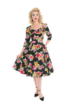 Black and Floral 3/4 Sleeve Sweetheart Neckline 1950s Tea Dress - Meredith