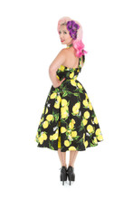 1950s Vintage Rockabilly Style Black and Lemon Halter Neck Dress