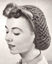 1940s Crochet Hair Snood - White