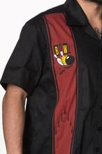 Mens Short Sleeve Black Shirt Bowling Logo