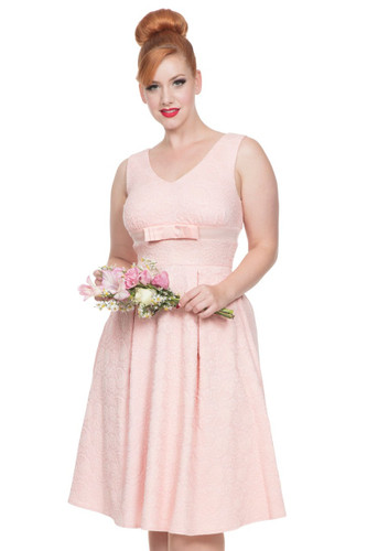 1950s Vintage Style Lace Effect Occasion Dress - Peach