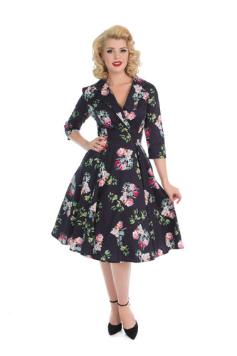 Navy Blue and Pink Floral V Neck Crossover 3/4 Sleeve 1950s Tea Dress - Elizabeth