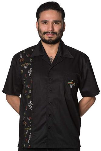 Mens Short Sleeve Black Shirt Midnight City