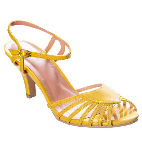 Dancing Days Amelia 1940s Retro Sandals - Yellow