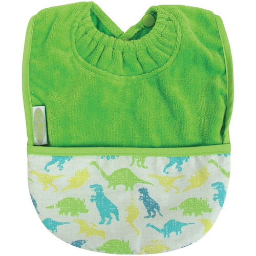 Lime Dinosaur Towel Pocket Bib