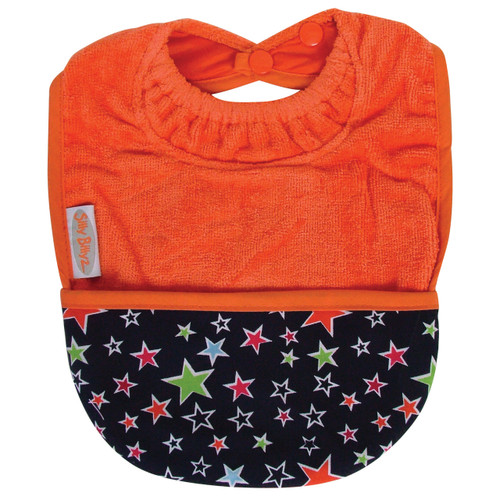Orange Stars Towel Pocket Bib