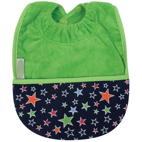 Lime Stars Towel Pocket Bib