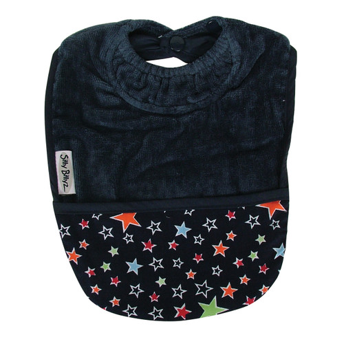 Navy Stars Towel Pocket Bib