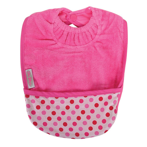 Cerise Dots Towel Pocket Bib