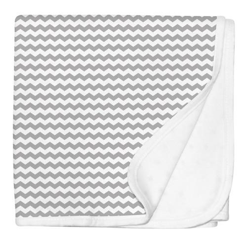 Grey Chevron Stroller Blanket