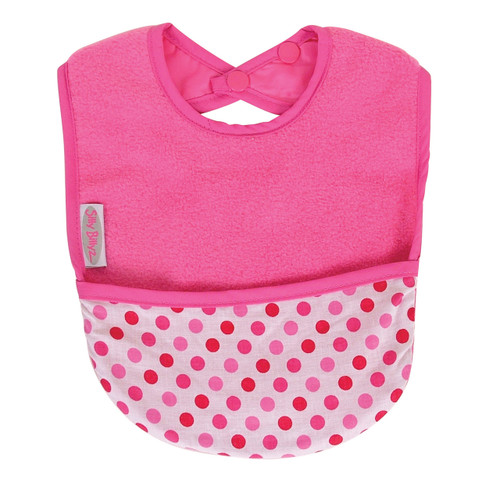 Cerise Dots Fleece Pocket Bib