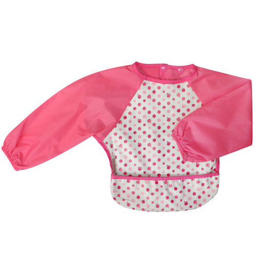 Wipe Clean Long Sleeve Bib Dots