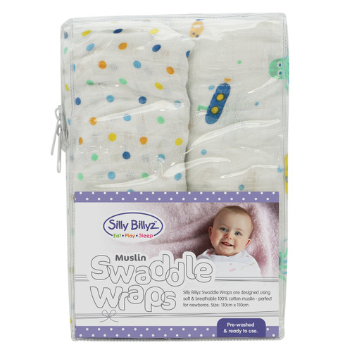 Muslin Swaddle Wrap 2PK- Boy