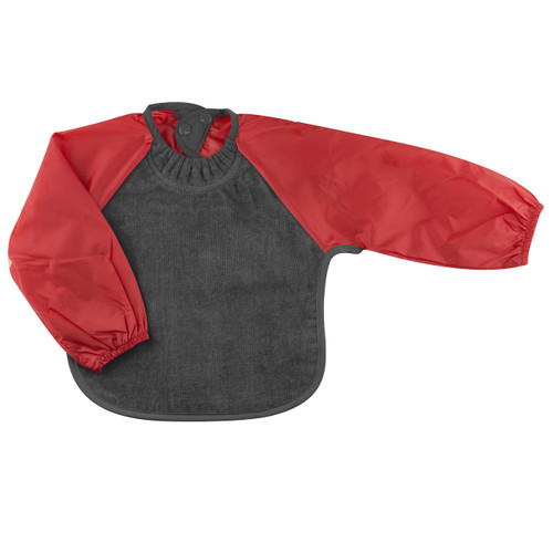 Grey/Red Towel Long Sleeve Bib