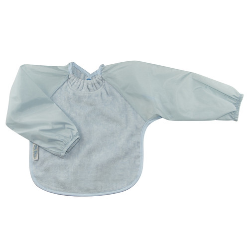 Dusty Blue Towel Long Sleeve Bib