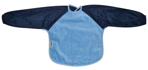 Sky Blue/Navy Towel Long Sleeve Bib