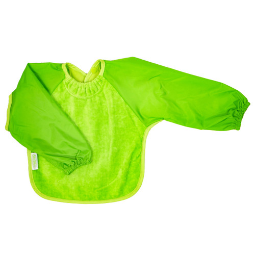 Our Long Sleeve Bib is terrific for self-feeders! The water-resistant nylon sleeves provide extra protection from food wobbling off a spoon or fork. The open back allows babies and kids to stay cool and makes it easy to get on and off.
