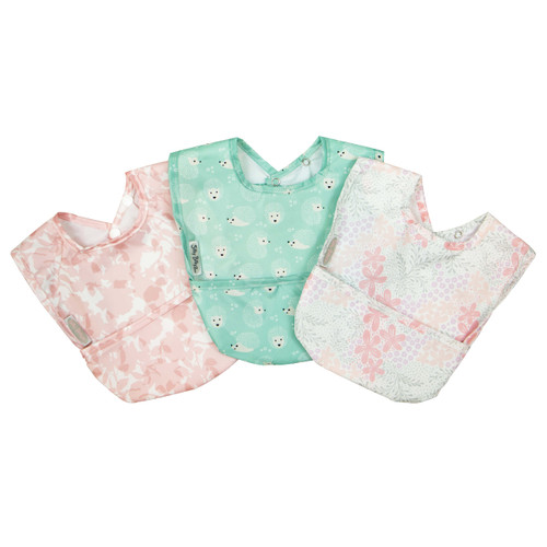 Wipe Clean Nylon Pocket Bib 3pk Girl
