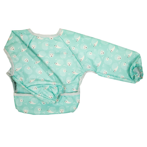 Hedgehog Wipe Clean Nylon Long Sleeve Bib