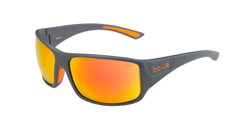 Tigersnake Sunglasses Matte Cool Grey Frame, Polarized Brown Fire Lens