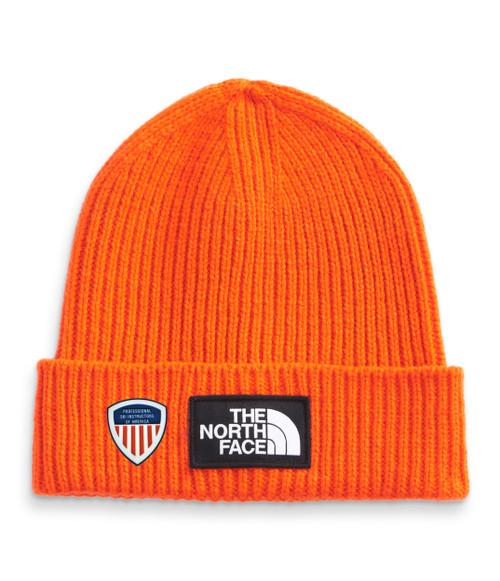 TNF Logo Box Cuffed Beanie TNF Red Orange  PSIA