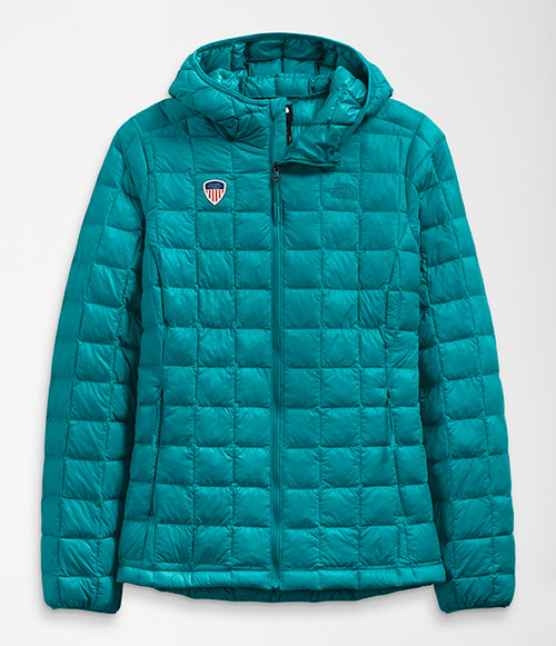 Women's ThermoBall Eco Hoodie Shaded Spruce with PSIA Logo