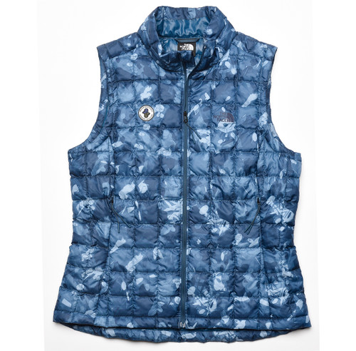Women's ThermoBall Eco Vest Monterey Blue Scattershot Print AASI  Logo