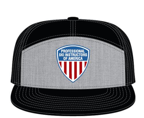 PSIA Logo Richardson 7 Panel Trucker Hat Heather Gray Black Alternate