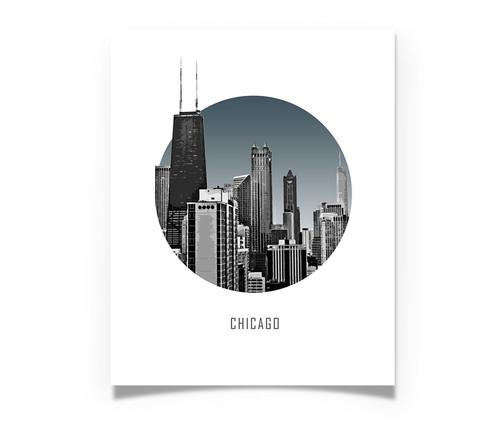 Chicago Circle Skyline