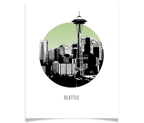 Seattle Washington Circle Skyline