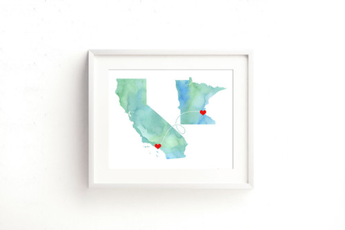 Two States Love Connection - Watercolor Series