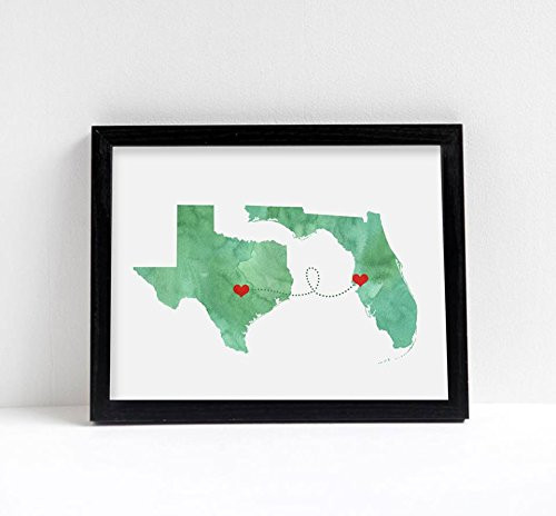 Two States Love Connection Wedding Gift - Watercolor Series