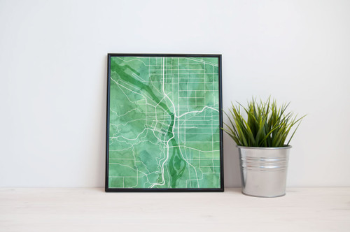 Portland City Map - Watercolor