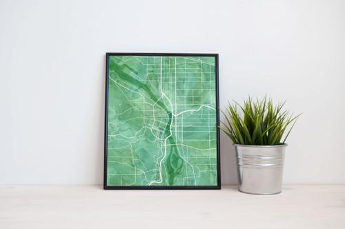 Portland City Map - Watercolor