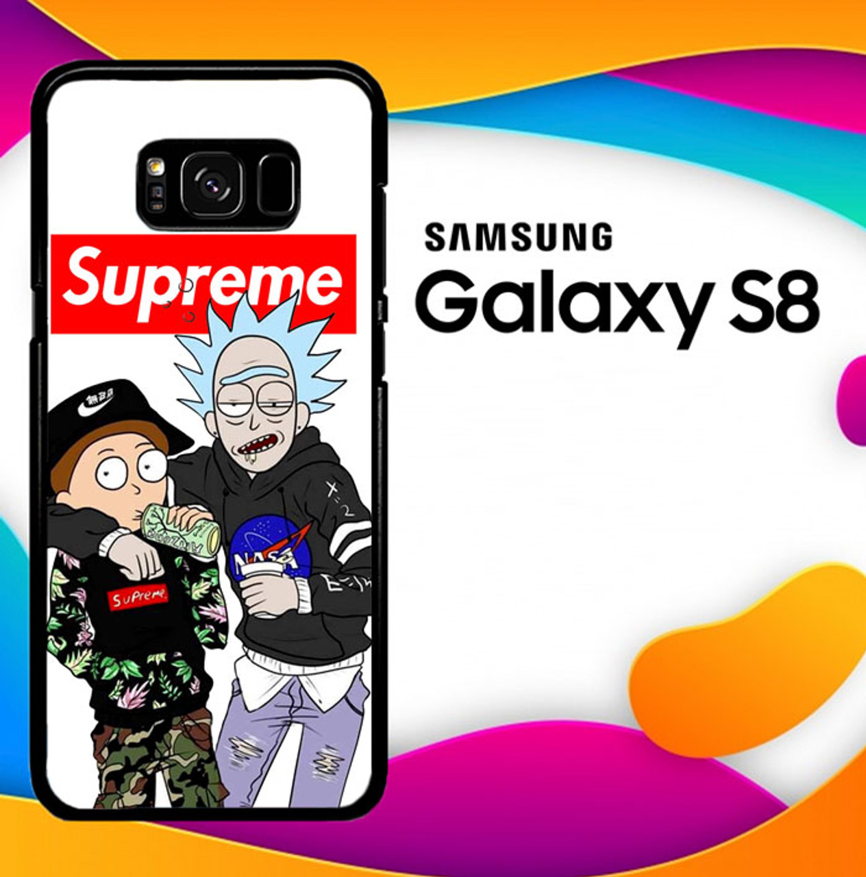 best loved 60632 f4d0f Supreme Rick And Morty L2696 Samsung Galaxy S8 Case